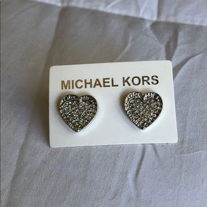 Michael Kors Silver Heart Shape Earrings